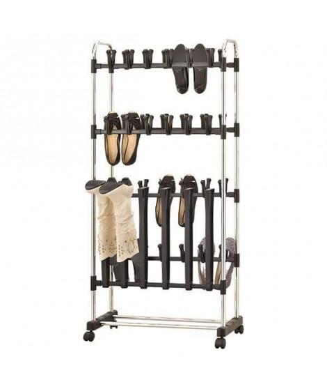 M-HOME Etagere / Portant Chaussures a Roulettes - 78x33x10 cm - Couleur métal