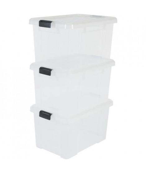 IRIS OHYAMA Lot de 3 boîtes de rangement avec fermeture clic - Power Box - SK-450 - Transparent - 50 L - 59 x 38,5 x 31,8 cm