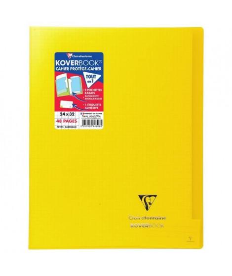 CLAIREFONTAINE Koverbook Cahier piqure 48 pages avec rabats - 240 x 320 mm - 5 x 5 papier PEFC 90 g - Jaune