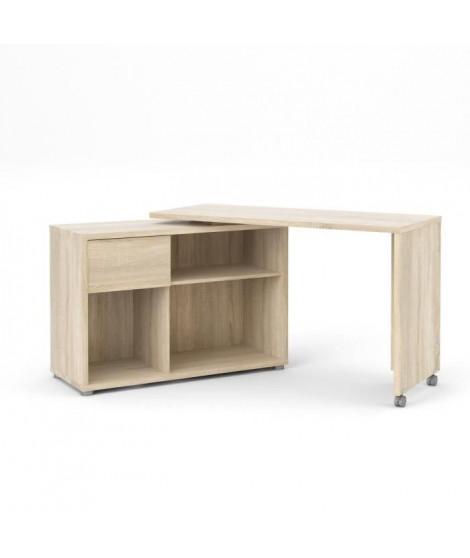 MOVE Bureau avec plateau rotatif 1 tiroir - Décor chene Sonoma - L 101/170 x P 40/120 x H 74 cm
