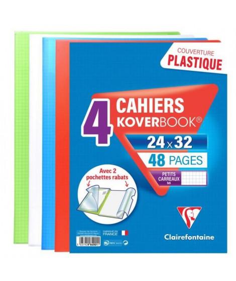 CLAIREFONTAINE Lot de 4 Koverbook Cahier piqure 48 pages avec rabats - 240 x 320 mm - 5 x 5 papier PEFC 90 g - 4 couleurs ass…