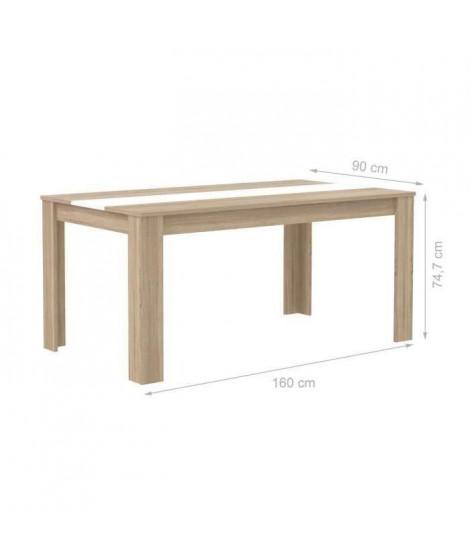 FINLANDEK Table a manger ELÄMÄ de 6 a 8 personnes style contemporain en bois aggloméré décor chene et blanc mat - L 160 x l 9…