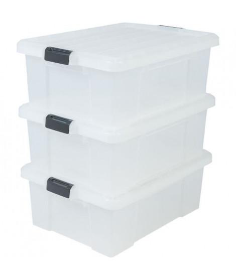 IRIS OHYAMA Lot de 3 boîtes de rangement avec fermeture clic - Power Box - SK-430 - Transparent - 43 L - 63,5 x 44,6 x 23 cm