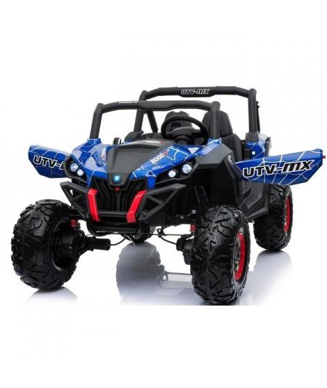 EROAD - Buggy STORM 2 places 4X4 Carbone Bleu 2 places - 12V - Roues gomme - MP3