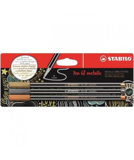 STABILO Blister de 3 feutres métallisés - Pen 68 metallic - Or, argent, cuivre