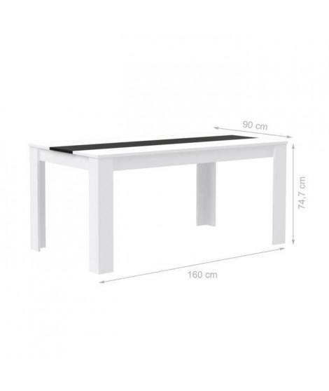FINLANDEK Table a manger ELÄMÄ de 6 a 8 personnes style contemporain en bois aggloméré blanc et noir mat  - L 160 x l 90 cm