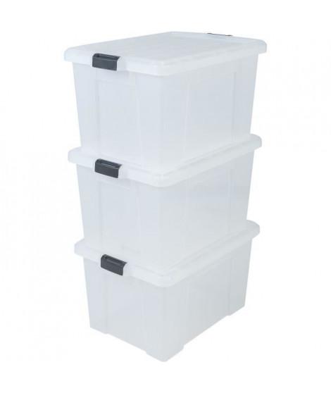 IRIS OHYAMA Lot de 3 boîtes de rangement avec fermeture clic - Power Box - SK-700 - Transparent - 68 L - 63,5 x 44,6 x 35,5 cm