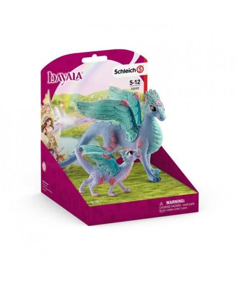 SCHLEICH - Figurine Dragon aux fleurs et son petit