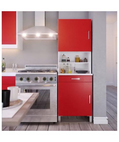 ECO Buffet de cuisine L 60 cm - Rouge et blanc mat