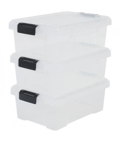 IRIS OHYAMA Lot de 3 boîtes de rangement avec fermeture clic - Power Box - SK-130 - Transparent - 12,5 L - 46 x 29,7 x 16 cm