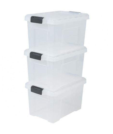 IRIS OHYAMA Lot de 3 boîtes de rangement avec fermeture clic - Power Box - SK-210  - Transparent - 21 L - 46 x 29, 7 x 25, 7 cm