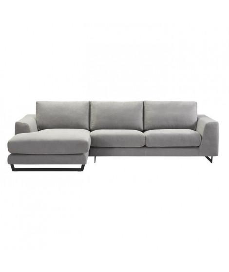 PALMAS Canapé d'angle gauche - Tissu gris chiné - L 296 x P 163 x H 82 cm