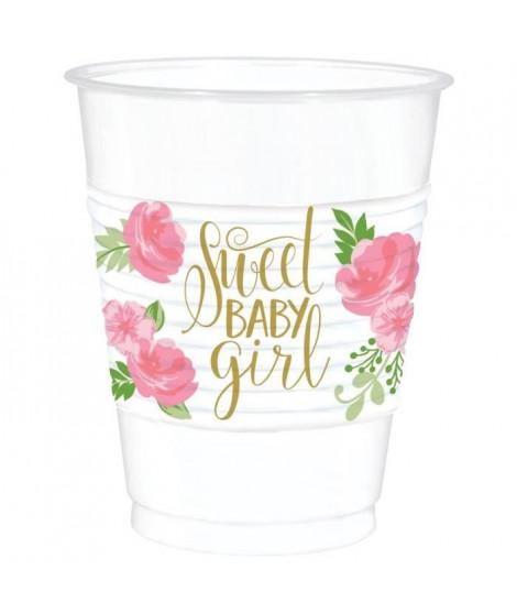 AMSCAN Lot de 25 Gobelets plastiques Floral Baby 473 ml