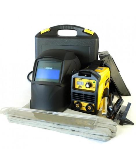 VITO Poste a souder inverter V140 - Livré avec cagoule électronique 9 / 13, gant de soudeur anti-chaleur et lot électrodes 2,…