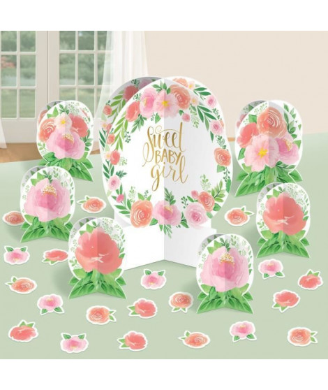 AMSCAN Kit décoration table Floral Baby 27 pieces