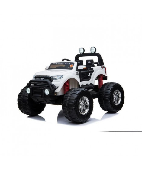 EROAD - Ford Ranger Monster Truck 2 places 4X4 Blanc - 2 places - 12V - Roues gomme - MP3 - Radio FM - Bluetooth