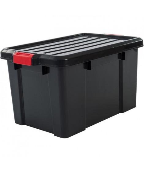 IRIS OHYAMA Lot de 3 boîtes de rangement avec fermeture clic - Power Box - SK-450 - Plastique - Noir - 50 L - 59 x 38, 5 x 31…