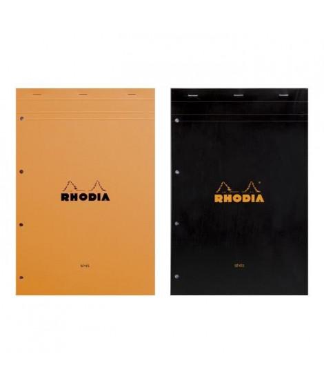 RHODIA - Bloc perforé - 21 x 31,8 - 160 pages Seyes - Papier Velin Surfin P.E.F.C 80G - 2 couleurs aléatoires