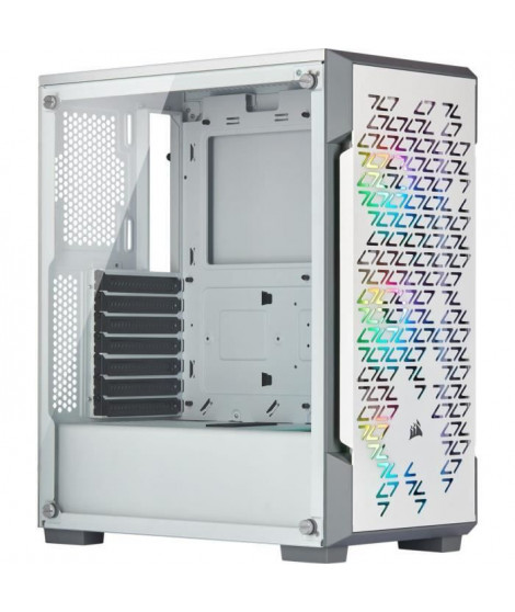 CORSAIR Boîtier PC iCUE 220T RGB Airflow - Moyen Tour - Verre trempé - Blanc (CC-9011174-WW)