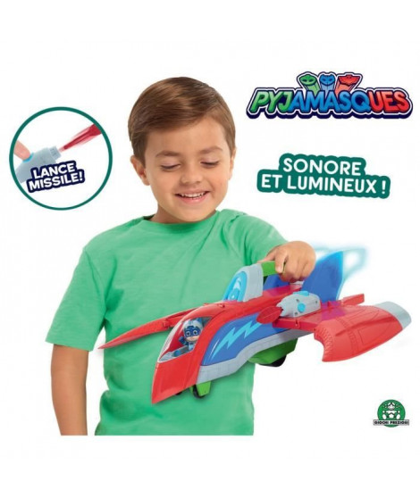 Pyjamasques - Rescue Jet avec 1 figurine 7,5 cm (Sonore et Lumineux)