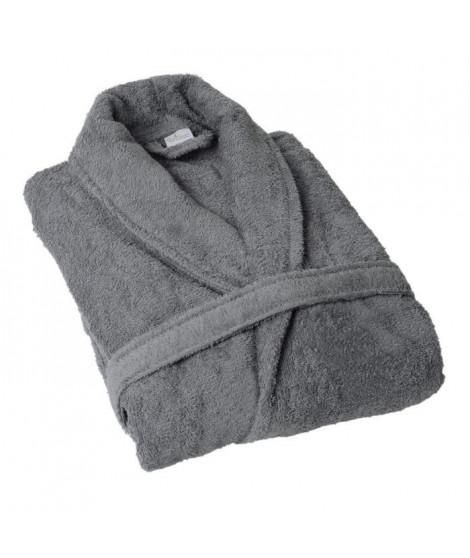 JULES CLARYSSE Peignoir Classic - XXL - 100% coton tissé - Gris - Modele avec col châle