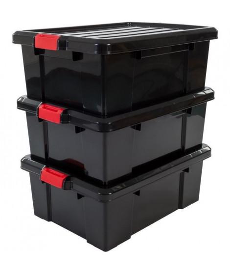 IRIS OHYAMA Lot de 3 boîtes de rangement avec fermeture clic - Power Box - SK-430 - Plastique - Noir - 43 L - 63,5 x 44,6 x 2…