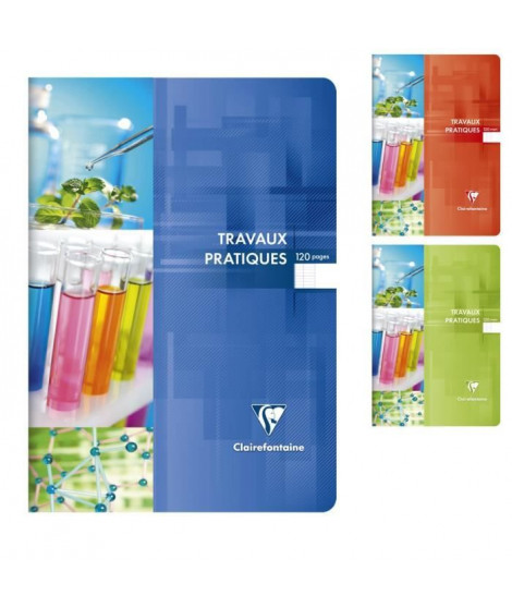 CLAIREFONTAINE - Cahier Travaux Pratiques piqûre - 21 x 29,7 - 120 pages Seyes + uni - Couverture pelliculée - 3 couleurs alé…