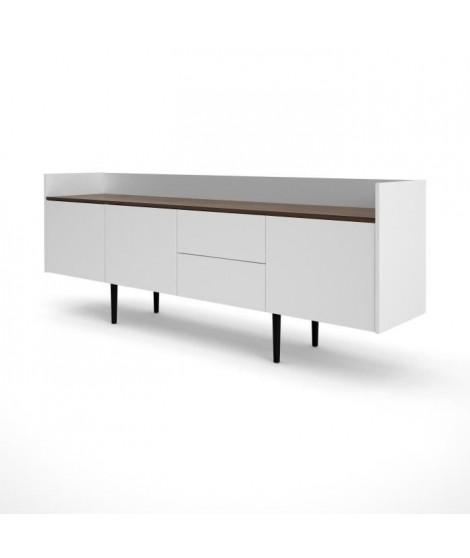 UNIT Enfilade 3 portes 2 tiroirs - Décor noyer et blanc - L 195,5 x P 40,5 x H 73,2 cm