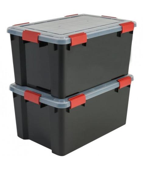 IRIS OHYAMA Lot de 2 boîtes de rangement hermétique - Air Tight Box - AT-L - Noir et transparent - 50 L - 59 x 39 x 29 cm