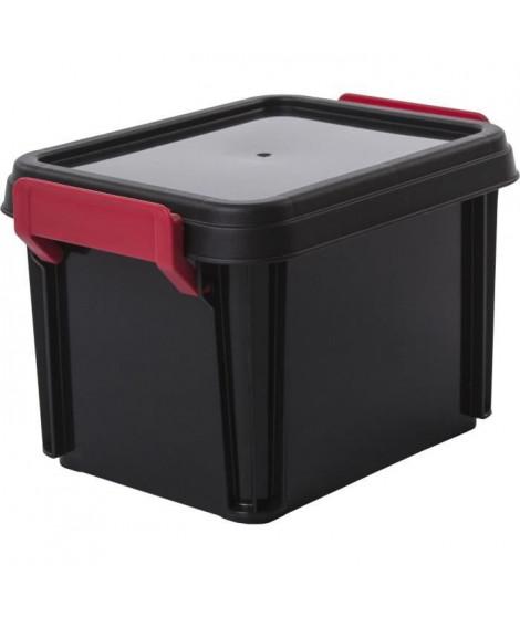 IRIS OHYAMA Lot de 4 boîtes de rangement empilables avec couvercle - Multi Box - MBX-2 - Noir, rouge et transparent - 2 L