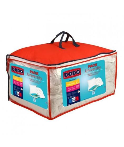 DODO UNIVERSITY Pack comprenant 1 couette tempérée 140 x 200 cm + 1 oreiller moelleux 60 x 60 cm