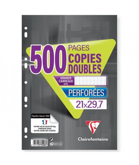 CLAIREFONTAINE - Copies doubles blanches - Perforées - 21 x 29,7 - 500 pages Seyes - Papier P.E.F.C 90G