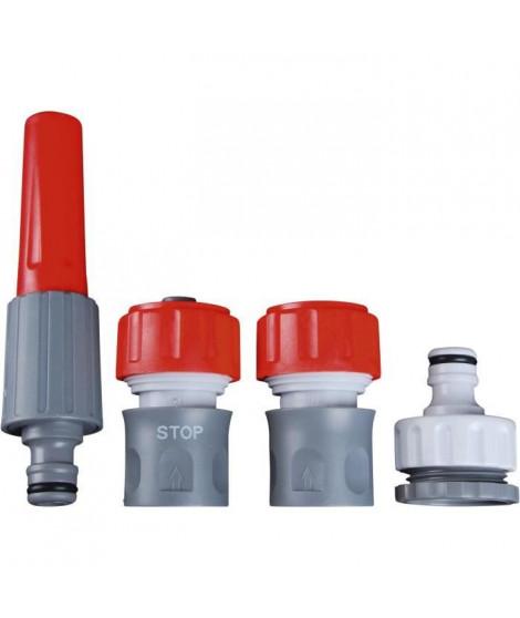 DIPRA Kit lance arrosage + raccords - Multi-jet - Plastique - Ø19 mm - Gris et rouge