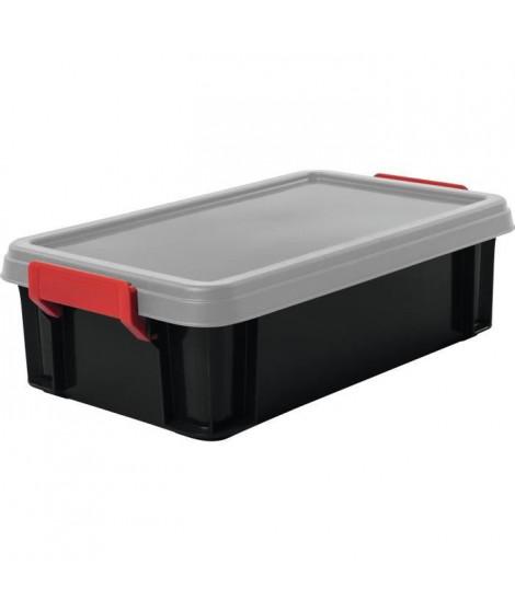 IRIS OHYAMA Lot de 4 boîtes de rangement empilables avec couvercle - Multi Box - MBX-4 - Noir, rouge et transparent - 4 L