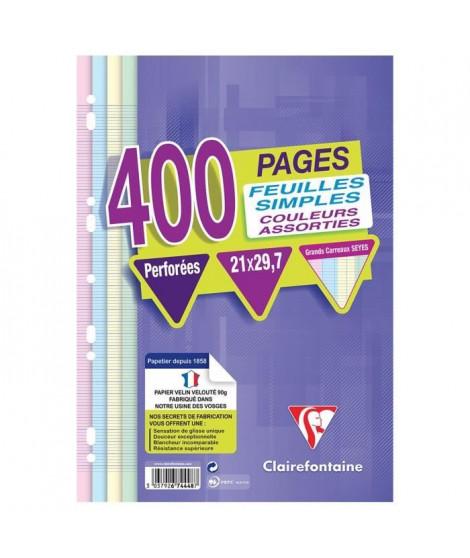 CLAIREFONTAINE - Feuilles simples couleurs - 4 couleurs - Perforées - 21 x 29,7 - 400 pages Seyes - Papier P.E.F.C 90G