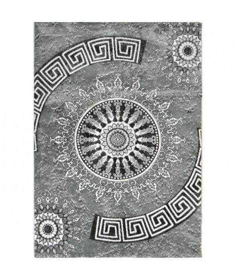 BAHIA Tapis de salon 120x170 cm gris et noir