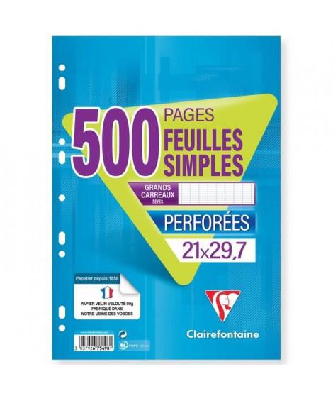CLAIREFONTAINE - Feuilles simples blanches - Perforées - 21 x 29,7 - 500 pages Seyes - Papier P.E.F.C 90G