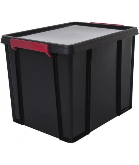 IRIS OHYAMA Boîte de rangement empilable avec couvercle - Multi Box - MBX-38- Plastique - Noir, rouge et transparent - 38 L