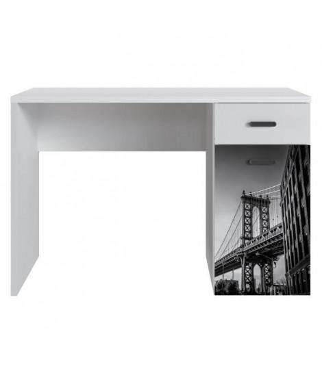 NEW YORK Bureau 1 porte 1 tiroir - Blanc mat - L 110 x P 55 x H 73,5 cm