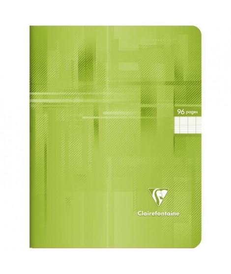 CLAIREFONTAINE - Cahier piqûre - 17 x 22 - 96 pages Seyes - Couverture pelliculée - Couleur verte