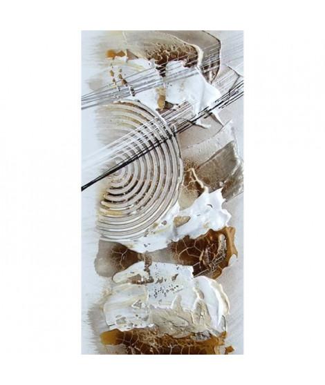 ABSTRACT Tableau déco toile peinte a la main 30x60 cm beige