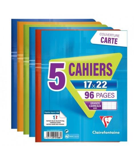 CLAIREFONTAINE - Lot de 5 cahiers piqûres - 17 x 22 - 96 pages Seyes - Couverture pelliculée - Couleurs assorties