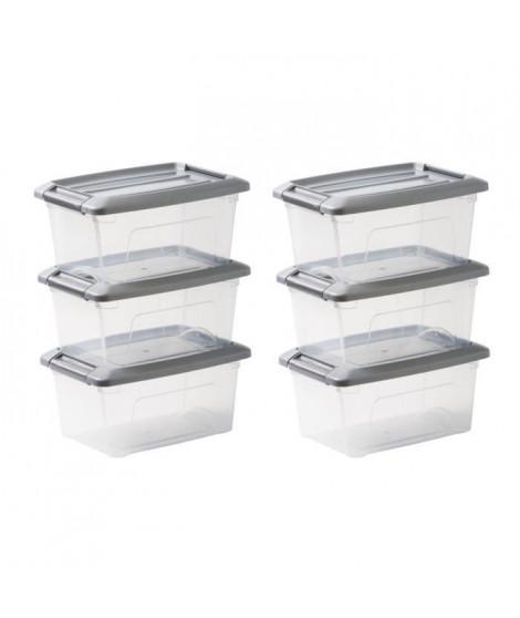 IRIS OHYAMA Lot de 6 boîtes de rangement empilables - Transparent et gris - 5 L - 28,5 x 19,5 x 14 cm