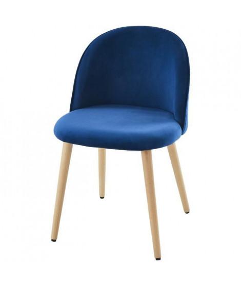MACARON chaise de salle a manger - Velours bleu - Scandinave - L 50 x P 50 cm