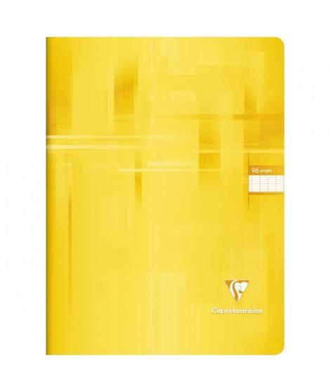 CLAIREFONTAINE - Cahier piqûre - 24 x 32 - 96 pages Seyes - Couverture pelliculée - Couleur jaune