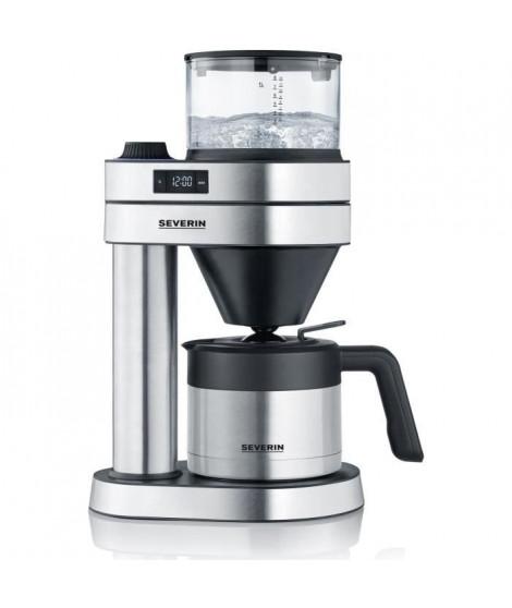 SEVERIN 5761 cafetiere filtre isotherme Café Caprice - 1450 W - 1L - 5 programmes - arret automatique - inox brossé noir