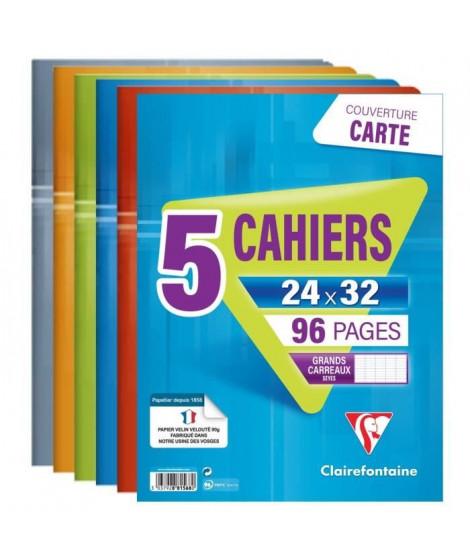 CLAIREFONTAINE - Lot de 5 cahiers piqûres - 24 x 32 - 96 pages Seyes - Couverture pelliculée - Couleurs assorties