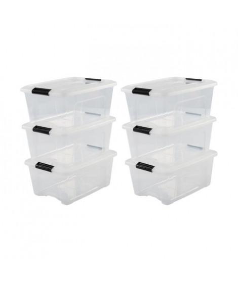 IRIS OHYAMA Lot de 6 boîtes de rangement empilables - Transparent - 30 L - 58 x 39,5 x 20,5 cm
