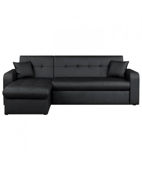 ROMAN Canapé d'angle réversible convertible 3 places + Coffre de rangement - Simili noir - Contemporain - L 235 x P 85 - 153 cm