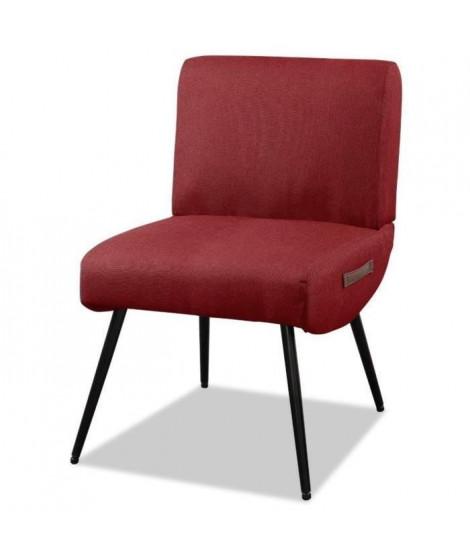 LILO3 Fauteuil pieds métal - Tissu rouge - L 49 x P 58,5 x H 75 cm